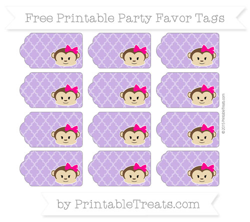 Free Amethyst Moroccan Tile Girl Monkey Party Favor Tags
