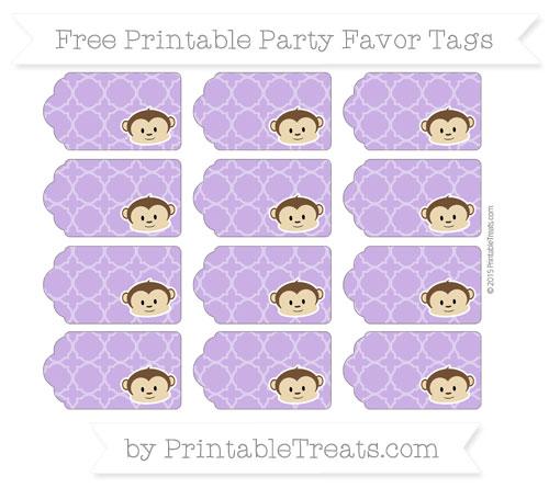 Free Amethyst Quatrefoil Pattern Boy Monkey Party Favor Tags