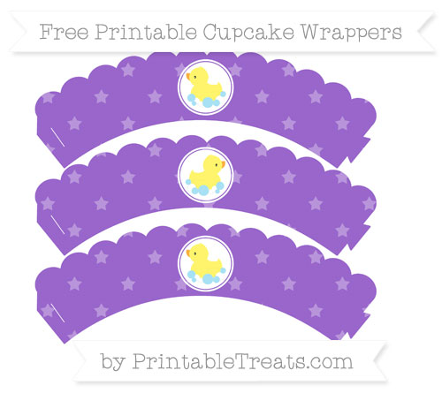 Free Amethyst Star Pattern Baby Duck Scalloped Cupcake Wrappers