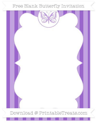 Free Amethyst Striped Blank Butterfly Invitation