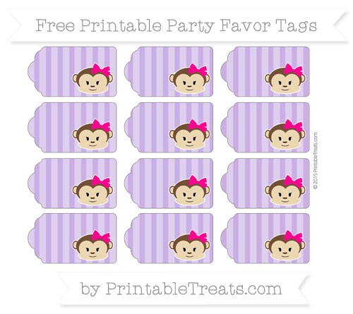 Free Amethyst Striped Girl Monkey Party Favor Tags