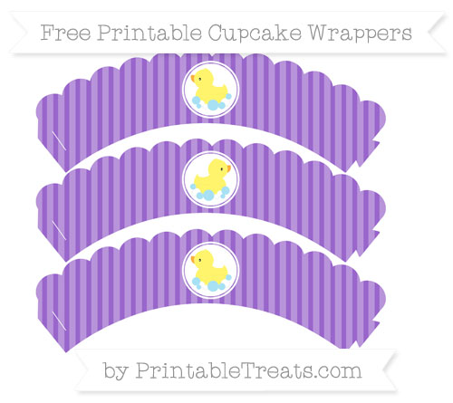 Free Amethyst Thin Striped Pattern Baby Duck Scalloped Cupcake Wrappers