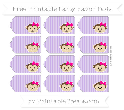 Free Amethyst Thin Striped Pattern Girl Monkey Party Favor Tags