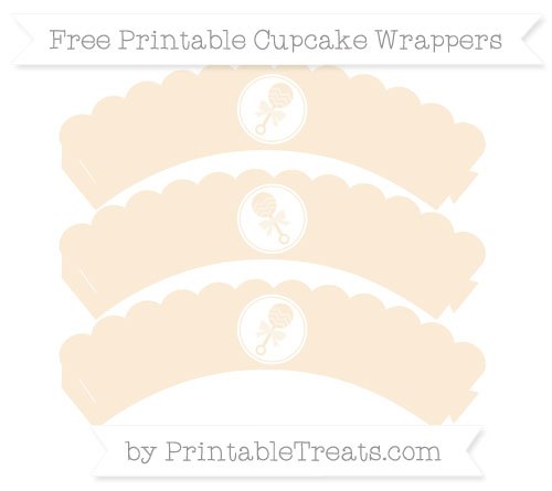Free Antique White Baby Rattle Scalloped Cupcake Wrappers