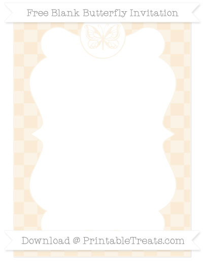 Free Antique White Checker Pattern Blank Butterfly Invitation