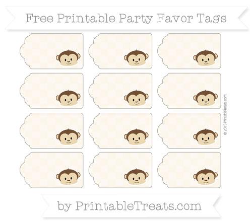 Free Antique White Checker Pattern Boy Monkey Party Favor Tags