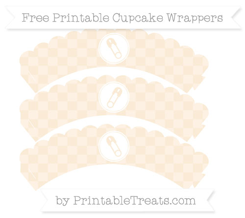 Free Antique White Checker Pattern Diaper Pin Scalloped Cupcake Wrappers