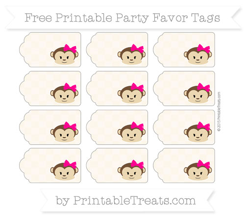 Free Antique White Checker Pattern Girl Monkey Party Favor Tags