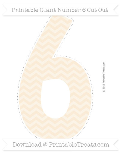 Free Antique White Chevron Giant Number 6 Cut Out