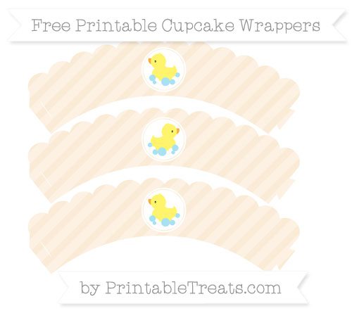 Free Antique White Diagonal Striped Baby Duck Scalloped Cupcake Wrappers