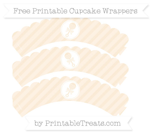 Free Antique White Diagonal Striped Baby Rattle Scalloped Cupcake Wrappers