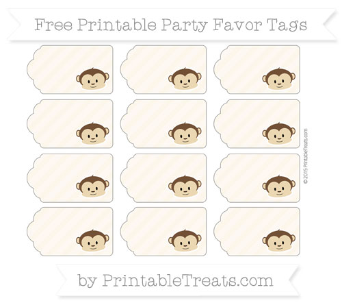 Free Antique White Diagonal Striped Boy Monkey Party Favor Tags