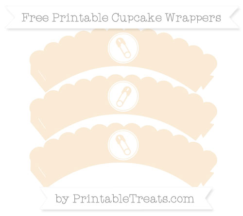 Free Antique White Diaper Pin Scalloped Cupcake Wrappers