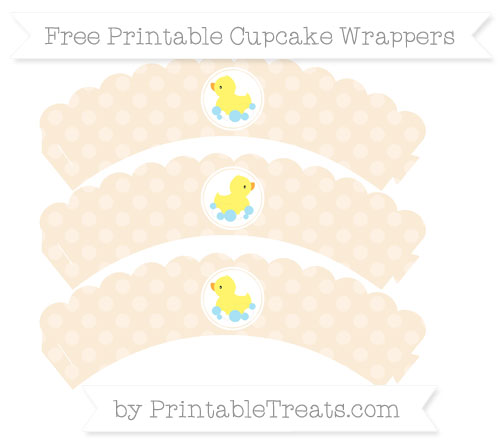 Free Antique White Dotted Pattern Baby Duck Scalloped Cupcake Wrappers