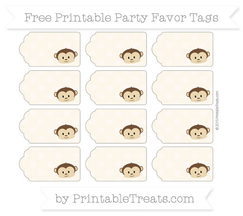 Free Antique White Dotted Pattern Boy Monkey Party Favor Tags