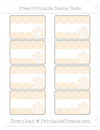 Free Antique White Dotted Pattern Cheer Pom Pom Tags