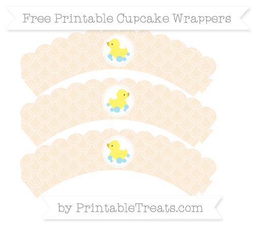 Free Antique White Fish Scale Pattern Baby Duck Scalloped Cupcake Wrappers