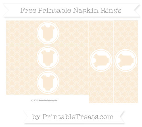 Free Antique White Fish Scale Pattern Baby Onesie Napkin Rings