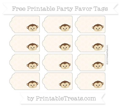Free Antique White Fish Scale Pattern Boy Monkey Party Favor Tags