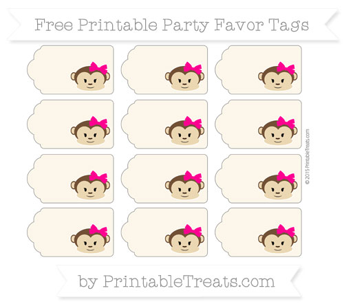 Free Antique White Girl Monkey Party Favor Tags