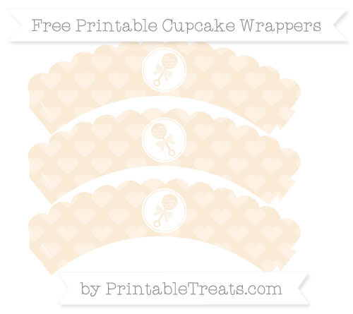 Free Antique White Heart Pattern Baby Rattle Scalloped Cupcake Wrappers