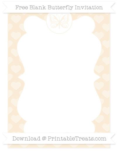 Free Antique White Heart Pattern Blank Butterfly Invitation