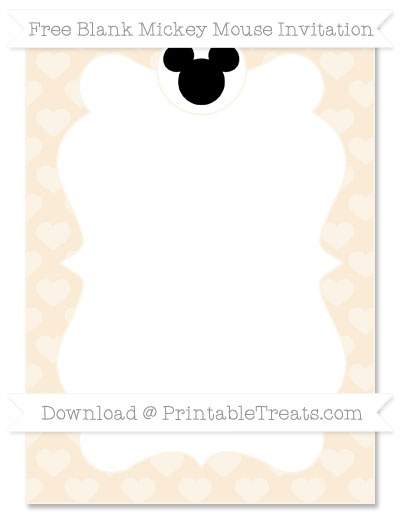 Free Antique White Heart Pattern Blank Mickey Mouse Invitation