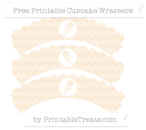 Free Antique White Herringbone Pattern Baby Rattle Scalloped Cupcake Wrappers