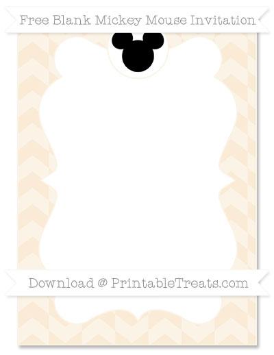 Free Antique White Herringbone Pattern Blank Mickey Mouse Invitation