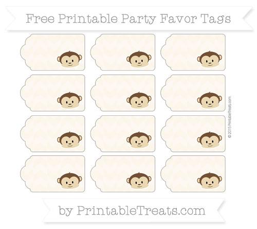 Free Antique White Herringbone Pattern Boy Monkey Party Favor Tags