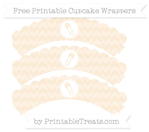 Free Antique White Herringbone Pattern Diaper Pin Scalloped Cupcake Wrappers