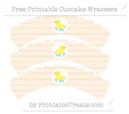 Free Antique White Horizontal Striped Baby Duck Scalloped Cupcake Wrappers