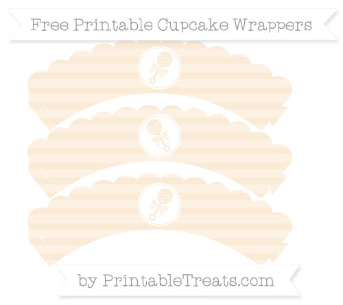 Free Antique White Horizontal Striped Baby Rattle Scalloped Cupcake Wrappers