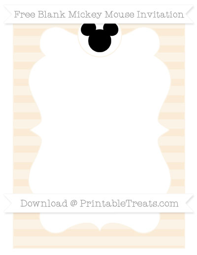 Free Antique White Horizontal Striped Blank Mickey Mouse Invitation