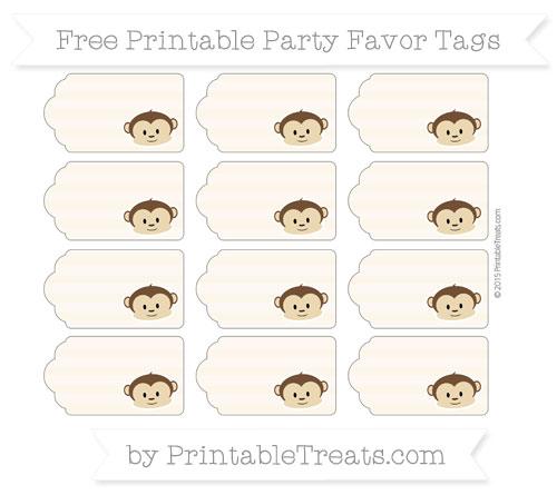 Free Antique White Horizontal Striped Boy Monkey Party Favor Tags