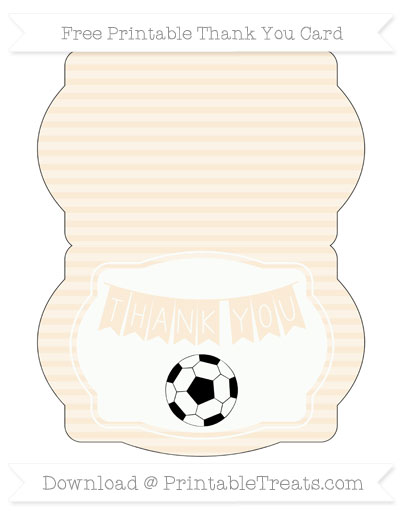 Free Antique White Horizontal Striped Soccer Thank You Card