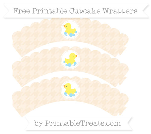 Free Antique White Houndstooth Pattern Baby Duck Scalloped Cupcake Wrappers