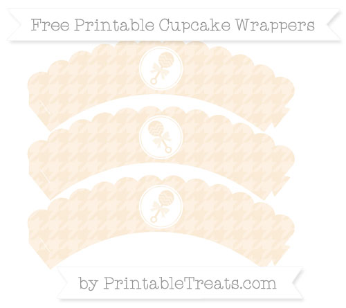 Free Antique White Houndstooth Pattern Baby Rattle Scalloped Cupcake Wrappers