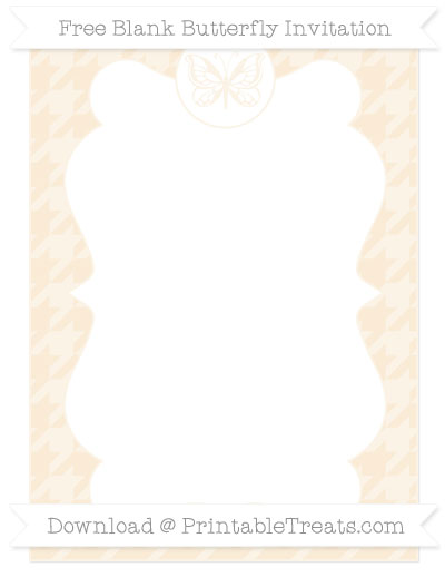 Free Antique White Houndstooth Pattern Blank Butterfly Invitation