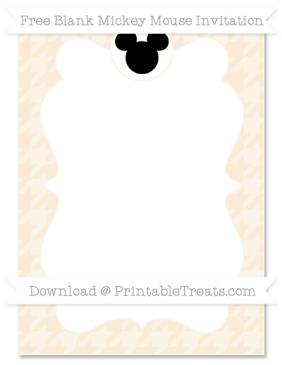 Free Antique White Houndstooth Pattern Blank Mickey Mouse Invitation