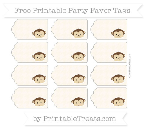 Free Antique White Houndstooth Pattern Boy Monkey Party Favor Tags