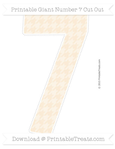 Free Antique White Houndstooth Pattern Giant Number 7 Cut Out