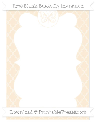 Free Antique White Moroccan Tile Blank Butterfly Invitation