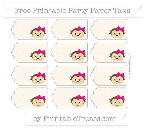 Free Antique White Moroccan Tile Girl Monkey Party Favor Tags