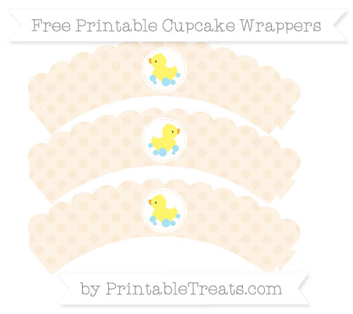 Free Antique White Polka Dot Baby Duck Scalloped Cupcake Wrappers