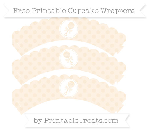 Free Antique White Polka Dot Baby Rattle Scalloped Cupcake Wrappers