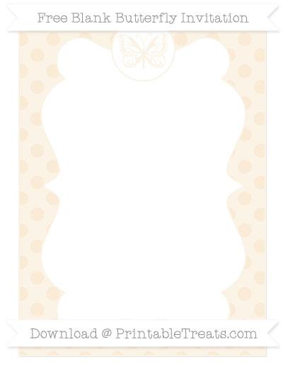 Free Antique White Polka Dot Blank Butterfly Invitation