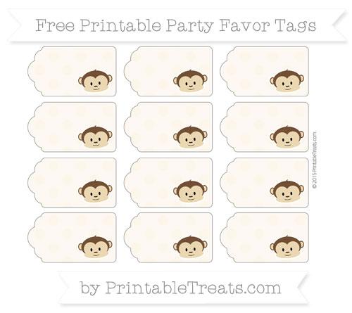Free Antique White Polka Dot Boy Monkey Party Favor Tags