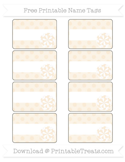 Free Antique White Polka Dot Cheer Pom Pom Tags