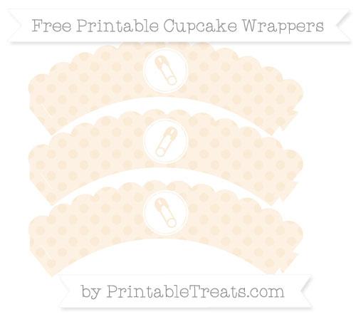 Free Antique White Polka Dot Diaper Pin Scalloped Cupcake Wrappers